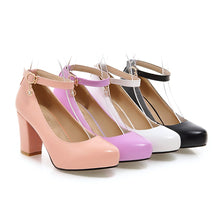 Load image into Gallery viewer, Ankle Straps Women Chunky Heel Pumps Platform High Heels Dress Shoes