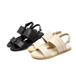 Women Sandals Buckle Cutout Flats Shoes
