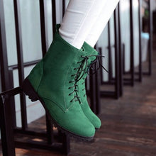 Load image into Gallery viewer, Women Ankle Boots Lace Up Flock Low Heeled Shoes Woman 2016 3579