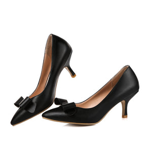 Pointed Toe Bow Women Pumps Spike High Heels Shoes 7407