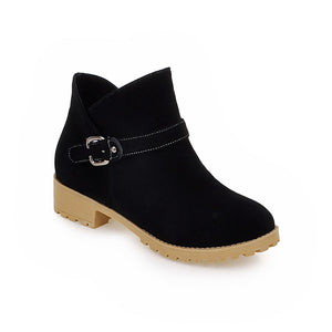 Women Ankle Boots Low Heeled Flock Buckle Shoes Woman 7583