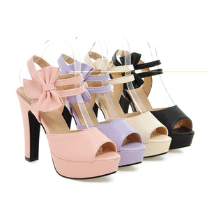 Women Sandals Peep Toes Pumps Platform with Bowtie High-heeled Shoes