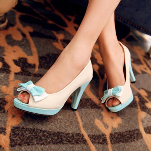 Fish Toe Bow High Heels Platform Sandals  5383