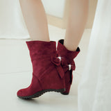 Ankle Boots for Women Wedges Faux Suede Autumn Winter Rhinestone Bowtie Shoes Woman 3842
