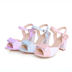 Women Sandals Peep Toes Ankle Straps Bow Pumps High-heeled Shoes