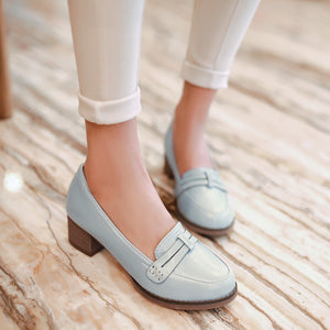 Round Toe Low Heel Pumps Platform High Heels Women Shoes 6413