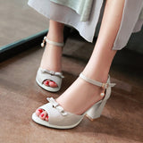 Sweet Bow Sandals Women Pumps Platform High-heeled Shoes Woman