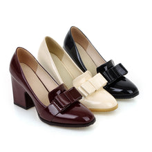 Load image into Gallery viewer, Bowtie Pumps Patent Leather High Heels Thick Heeled Shoes Woman