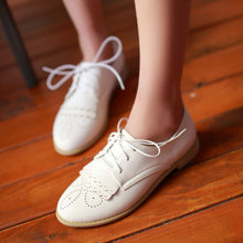 Load image into Gallery viewer, Lace Up Flats Women Shoes White, Black 4104