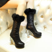 Load image into Gallery viewer, Fur Winter Snow Boots Rhinestone High Heels Platform Boots Shoes Woman