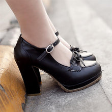 Load image into Gallery viewer, Women Platform Pumps PU Leather Bow High Heels Dress Shoes