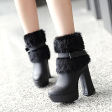 Load image into Gallery viewer, Fashion Women Ankle Boots for Autumn and Winter New Arrival Bow Fur 9779