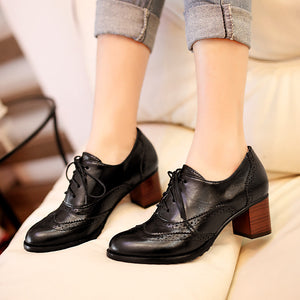 Retro Lace Up Women Pumps High Heels Platform Shoes 5784