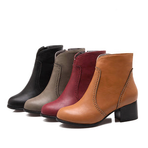 Round Toe Ankle Boots High Heels Women Shoes Fall|Winter 1570
