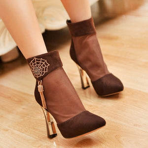 Summer Rhinestone Boots Tassel Mesh High Heels Shoes Woman