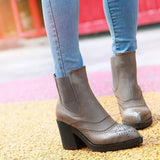 Ankle Boots Oxfords High Heels Platform Shoes Woman