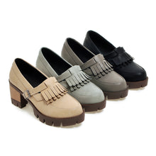 Load image into Gallery viewer, Tassel Pumps Buckle High Heels Thick Heeled Platform Shoes Woman