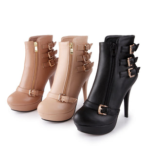 Buckle Motorcycle Boots Zipper Platform Boots High Heels Shoes Woman