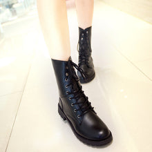 Load image into Gallery viewer, PU Leather Women Motorcycle Boots Black Lace Up Ankle Boots Shoes Woman 2016 3376