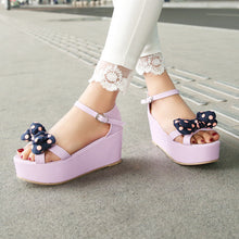 Load image into Gallery viewer, Platform Sandals Women Pumps Polka Dot Bowtie Ankle Straps Wedges Shoes Woman 3451