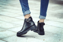 Load image into Gallery viewer, Black Ankle Boots Platform Shoes Woman