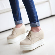Load image into Gallery viewer, Lace Up Women Wedges Round Toe PU Leather Platform Shoes 3403