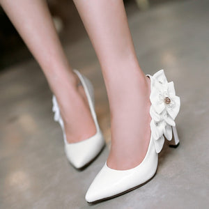 Women Pumps Satin Flower High Heels Pointed Toe Shoes Woman 3425