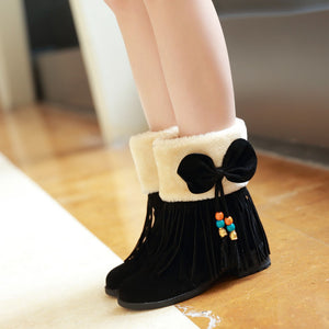 Fashion New 2016 Women Snow Boots Shoes with Tassel and Bow 4165