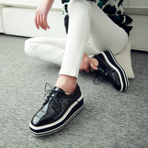 Patent Leather  Lace Up Platform High Heels Women Shoes 9614