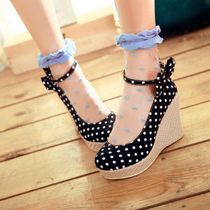 Women Wedges Polka Dot Ankle Straps Platform Shoes 3427