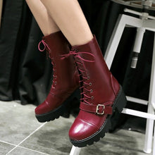 Load image into Gallery viewer, Women Motorcycle Boots Lace Up High Heels Platform Shoes Woman 2016 3489