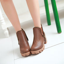 Load image into Gallery viewer, Round Toe Zipper Ankle Boots Women Shoes Fall|Winter 11191501