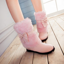 Load image into Gallery viewer, Snow Boots with Fur and Bow Wedges Winter Women Shoes