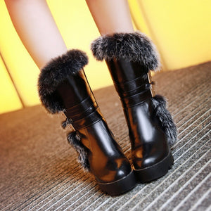 Rabbit Fur Wedges Boots Women Shoes Fall|Winter 3506