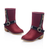 Zipper and Buckle Ankle Boots Women Shoes Fall|Winter