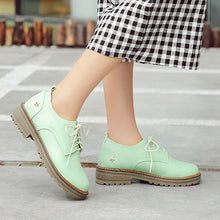 Load image into Gallery viewer, Candy Colors Lace Up Low Chunky Heel Women Oxfords Shoes 7382