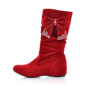 Bow Rhinestone Women Boots Wedges Heels Shoes 7885