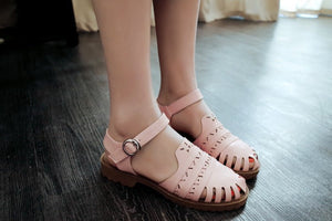 Ankle Straps Sandals Women Cutout Buckle Flats Shoes Woman Pink Beige White 3543