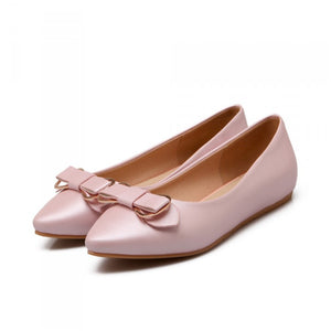 Bowtie Women Flats Pointed Toe Shoes