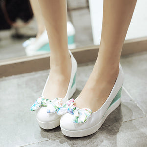Flower Bow Women Wedges Platform Shoes Plus Size