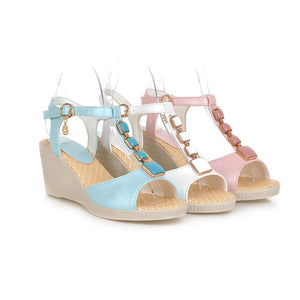 Peep Toes T Straps Platform Sandals Women Wedges Platform Shoes Woman