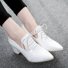 Load image into Gallery viewer, Women Pumps High Heels Thick Heel Patent Leather Lace Up Pointed Toe Shoes Woman 3432