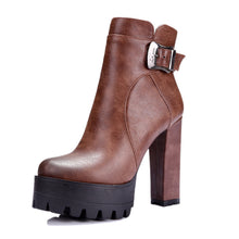 Load image into Gallery viewer, Buckle Chunky Heel Pumps High Heels Boots Women Shoes Fall|Winter 9091