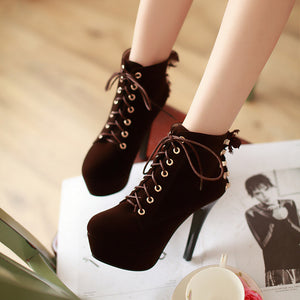 Lace Up Women Ankle Boots Platform Pumps High Heels Shoes Woman  3354