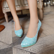 Load image into Gallery viewer, Flower Lace Pumps Platform High Heels Fashion Women Shoes 3520