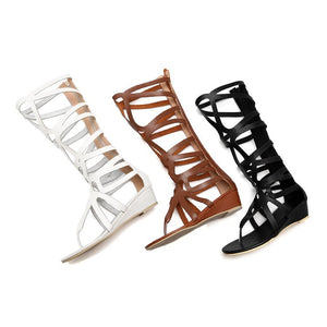 Cutout Back Zipper Gladiator Sandals Wedge Heels 8520