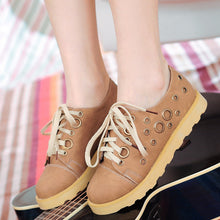 Load image into Gallery viewer, Women Round Toe Lace Up Flats Platform Shoes 4618