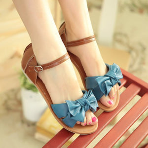Ankle Strap Bow Flats Sandals Covered Heel 2277