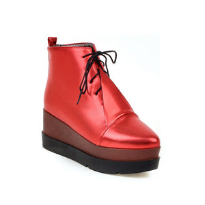 Lace Up High Heels Wedges Platform Boots Women Shoes 7596404