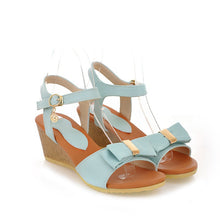 Load image into Gallery viewer, Bowtie Platform Sandals Ankle Straps Women Wedges Shoes Woman